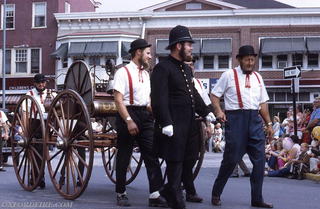 Joe lead the pulling of our Hose Cart in the 100th Anniversary parade 1971.